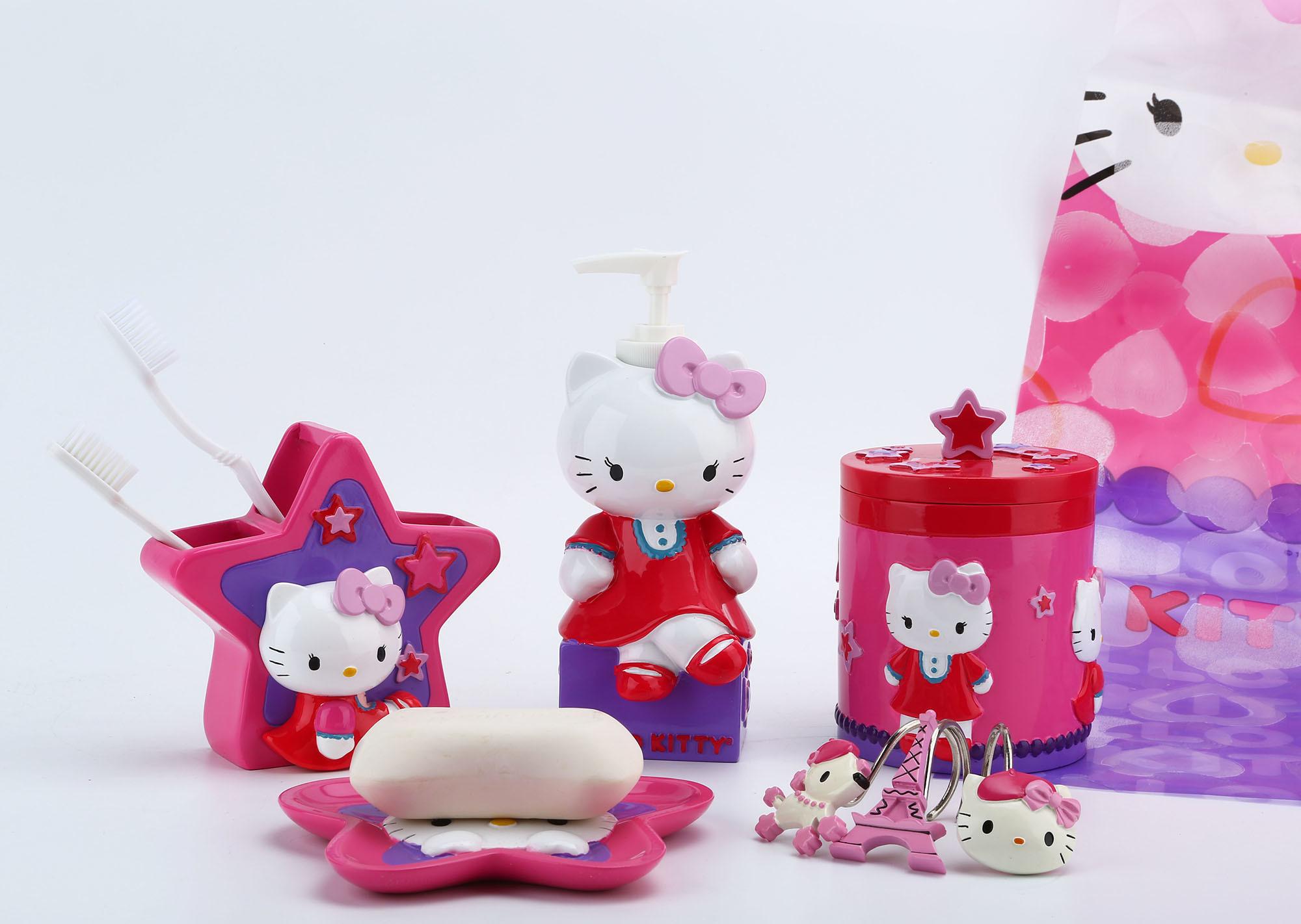 Hand Paint Hello Kitty Licensed Polyresin Bathroom Accessory