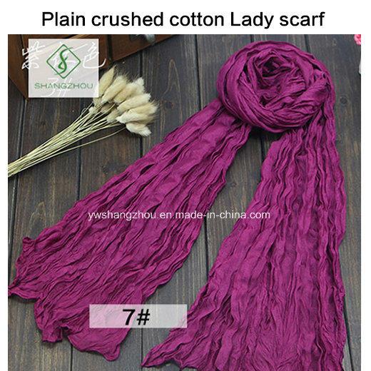 2017 Hot Sale Soft Cotton Plain Crushed Fashion Lady Scarf