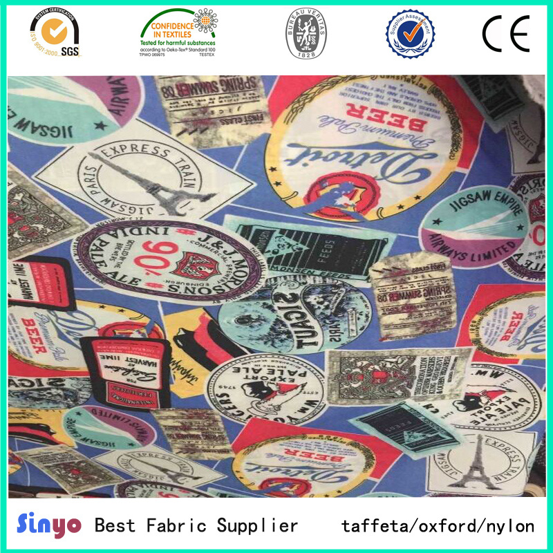 PU Coated 100% Polyester Waterproof Jacquard FDY Printed Fabric with Cation Material