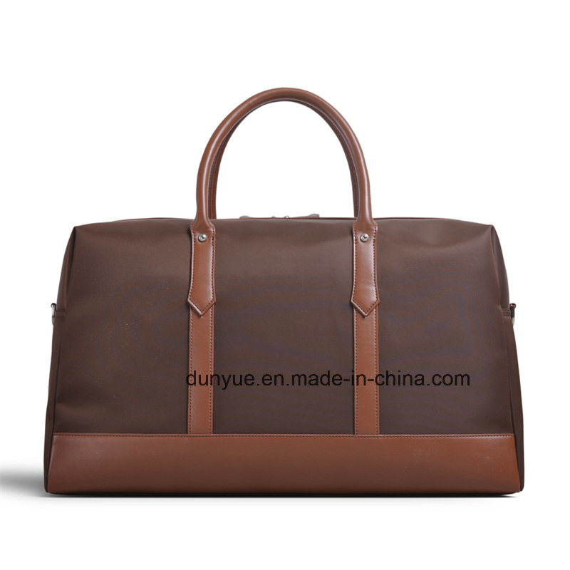 Promotion PU Leather Handle Nylon Travel Bag, Fashion Tote Luggage Bag for Business Trip