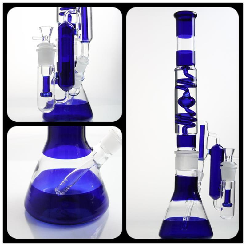 19.5′′ Glass Smoking Pipe with Blue Beaker and Amazing Filter