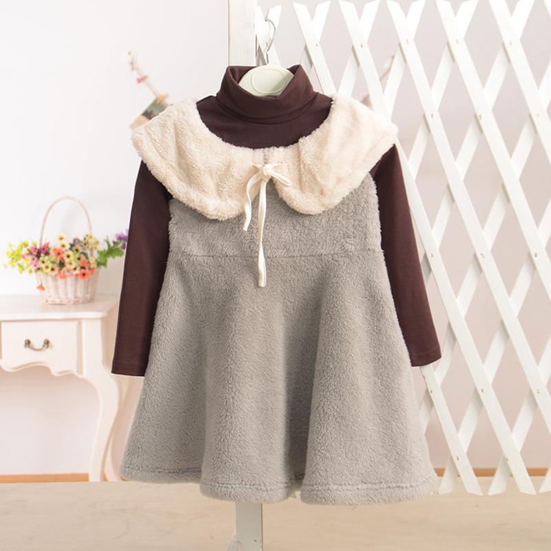 Coral Fleece & Cotton Winter Dress for Kids Girls