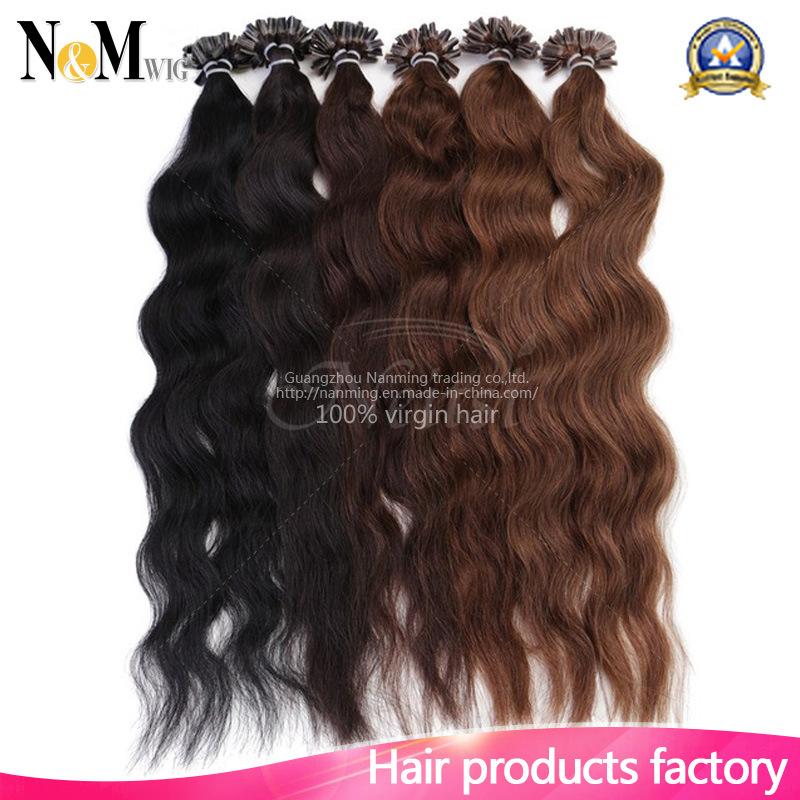 Fusion U Tip Human Hair Extension Flip Colorful Hair 100% Brazilian Virgin Hair Kinky Straight Keratin Capsule U Tip Hair Extension