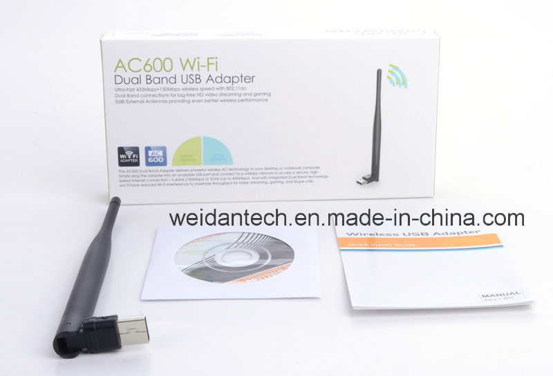 Dual Band 2.4G and 5g AC 600Mbps USB2.0 Adapter