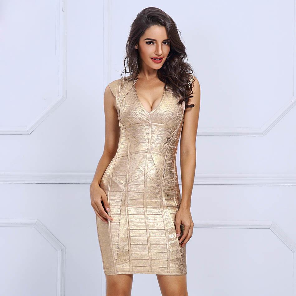 Deep V Bandage Gold Stamping Night Club Dresses