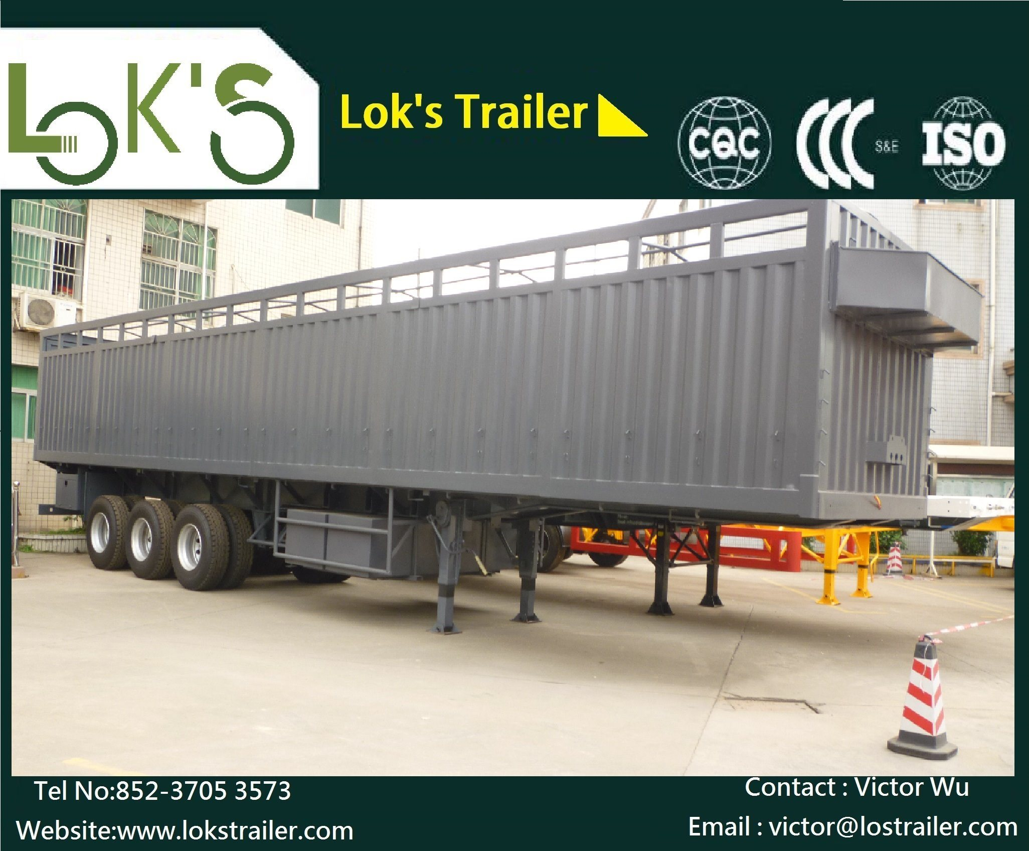 40 Feet 3 Axle Side Wall Semi Trailer
