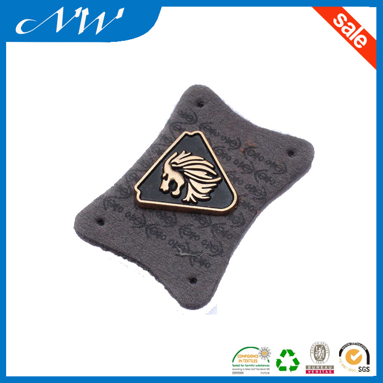 Most Popular Leather Patch Embossed Leather Label with Metal