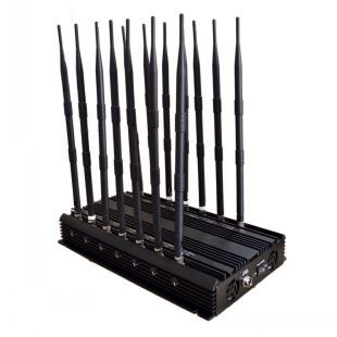 14 Bands Jammer GSM/3G/4G Cellphone, GPS, WiFi, Lojack, 433MHz, 315MHz Signal Jammer; Built-in 5 Cooling Fan 14 Antenna Signal Jammer/Blocker