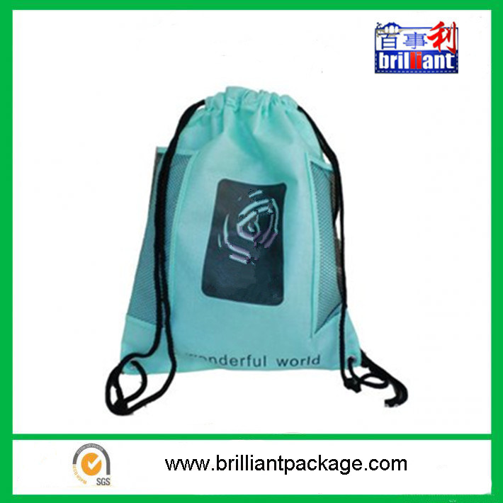 Promotiona Polyester Drawstring Bag with Storage