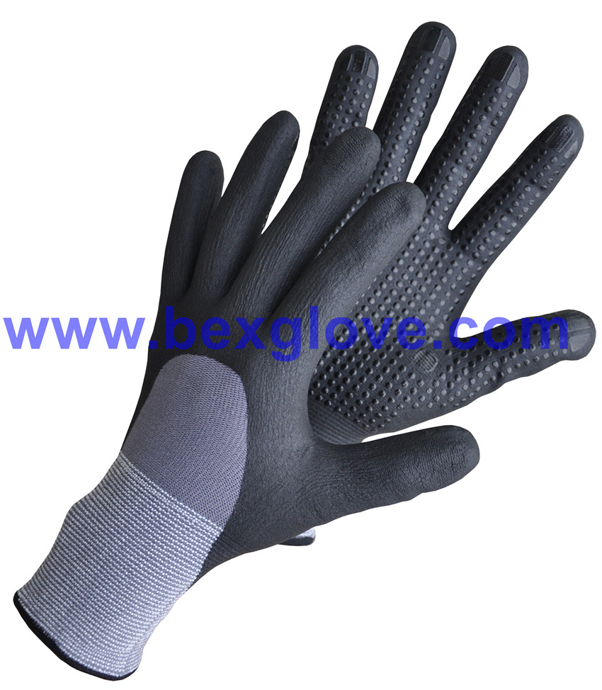 15 Gauge Nylon/Spandex Liner, Nitrile Coating, 3/4, Micro-Foam Safety Gloves