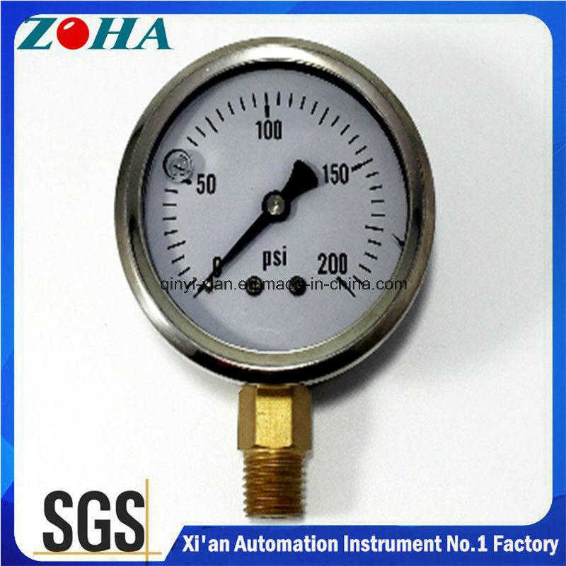Miniature Bottom Connection Shock Resistance Pressure Gauges Oil Filled