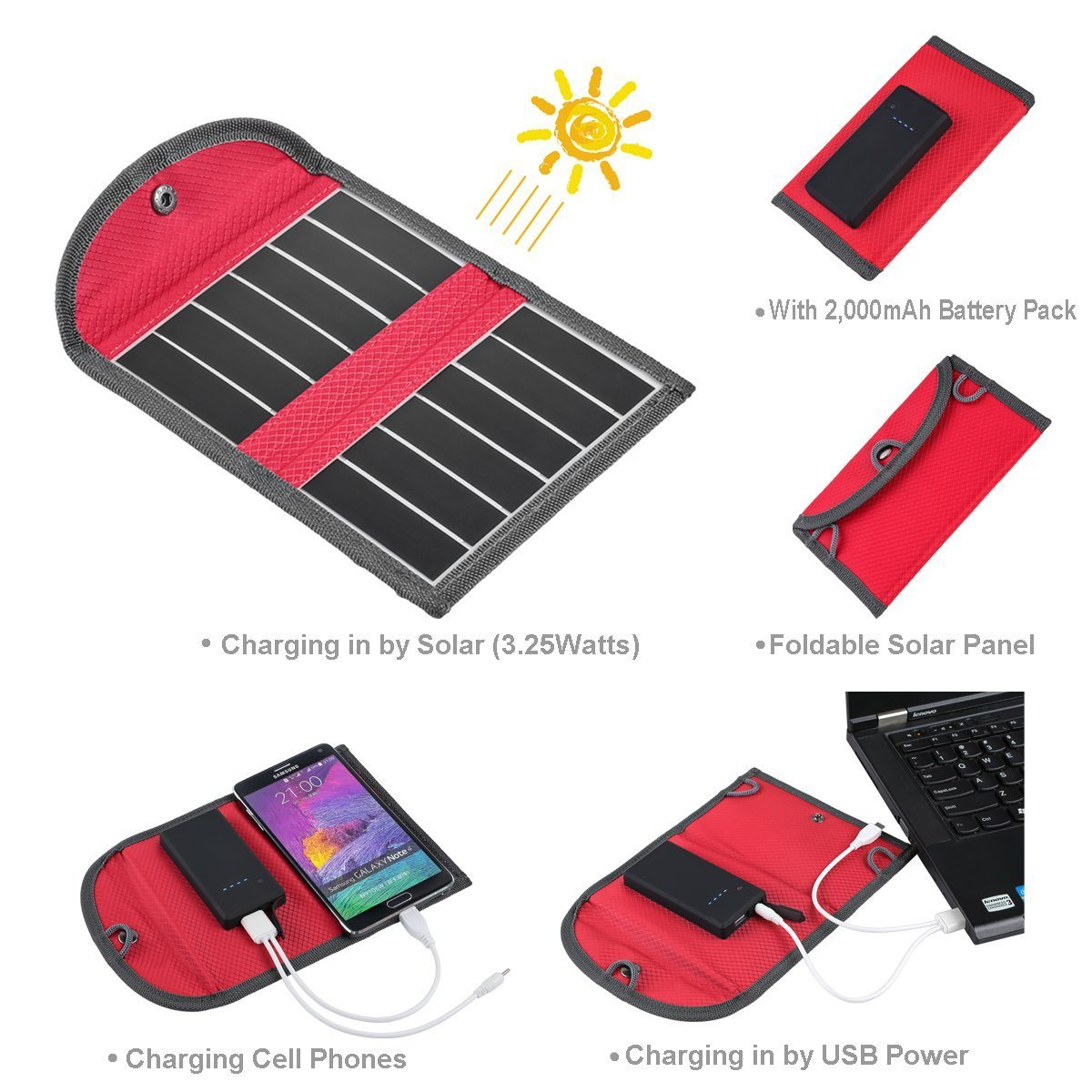 Outdoor Solar Hiking Bag Lightweight Solar Bag, Solar Folding Backpack