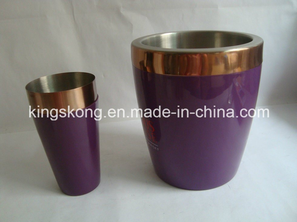 Copper Ice Bucket, Stainless Steel Double Walls Bar Ice Bucket/Wine Cooler/Beer Tube with Colorful Plastic Walls