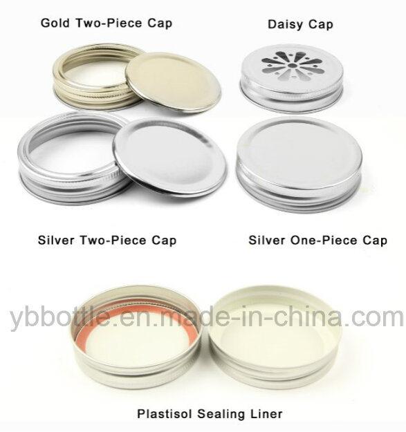Candy Jar, 12oz/380ml Clear Round Mason Jar with White/Gold Lid