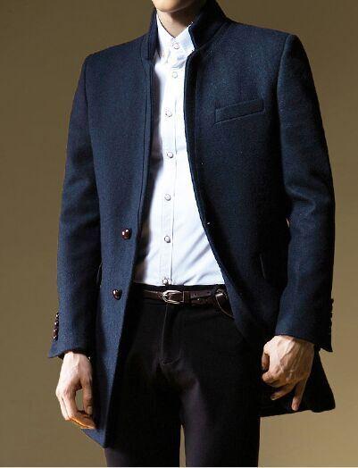 Men Woolen Coat on Autumn and Winter British Slim Coat