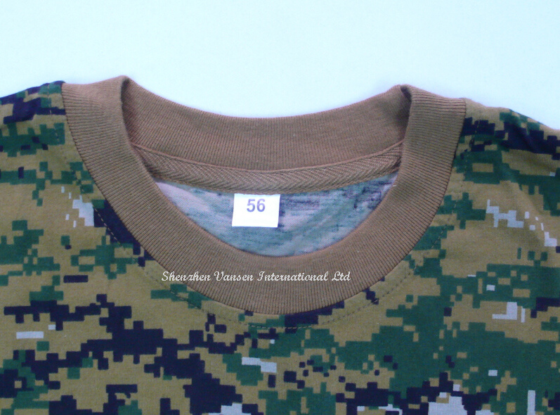 Custom High Quality Tactical Camo T-Shirt with Round Neck
