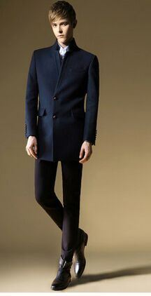 Men Woolen Coat on Autumn and Winter British Slim Coat