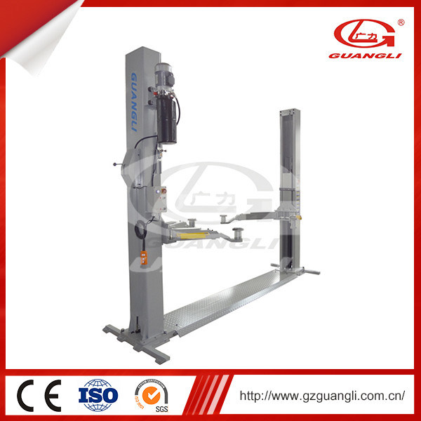 Automobile Service Station Tools Guangli Manufacturer Hydraulic Two Post Car Lift with Floor Plate