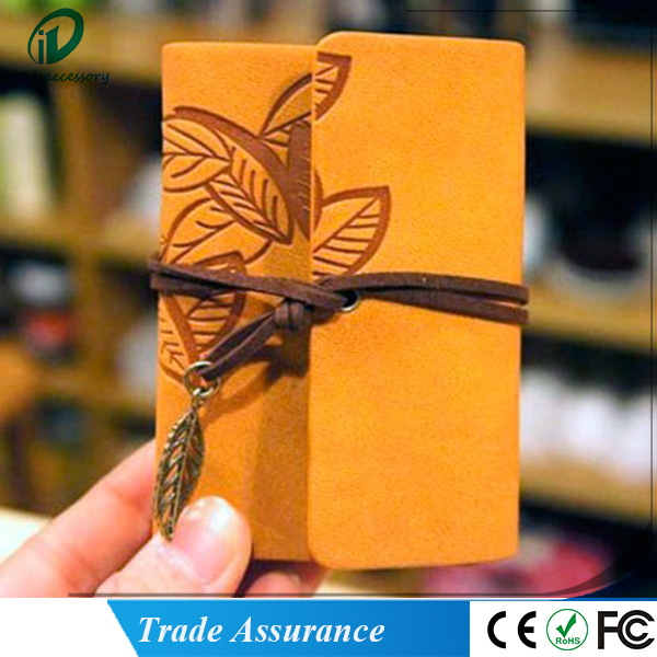 Leaf Pattern Leather DIY Cardboard Photo Picture Album Scrapbook