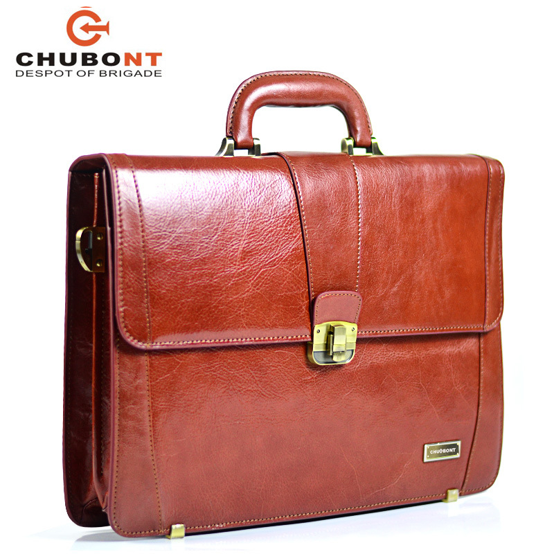"""Chubont High Qualilty Cow Leather Mens 15"""" Business Briefcase"""