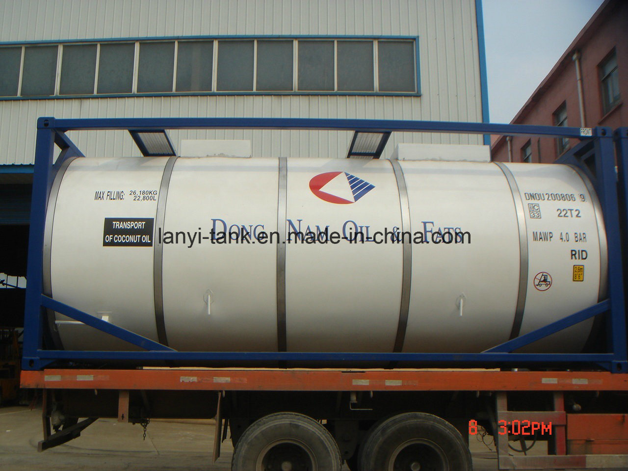 26000L 20FT Stainless Steel Tank Container for Edible Food, Oil, Chemcials