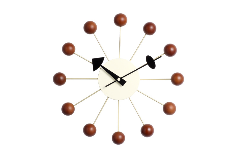 Aluminum Center Wood Ball Wall Clock