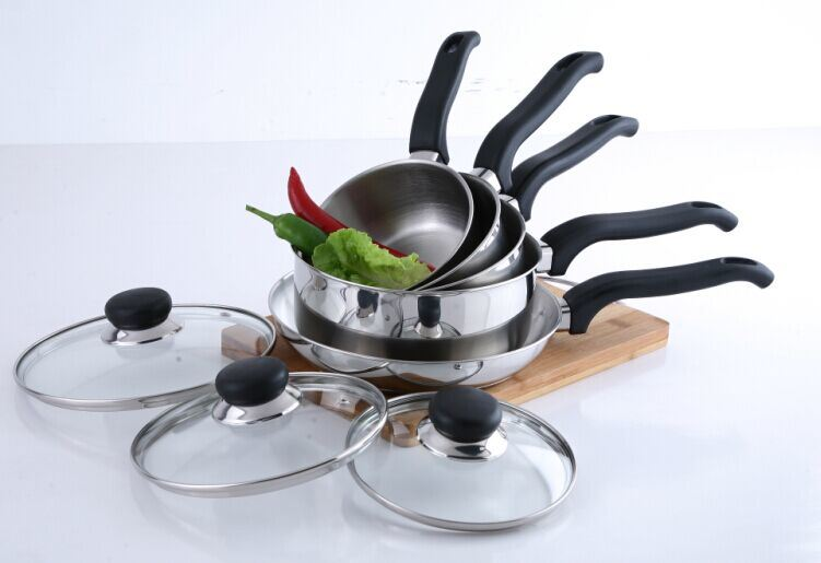 8PCS Stainless Steel Cookware Set (saucepan+frypan set)