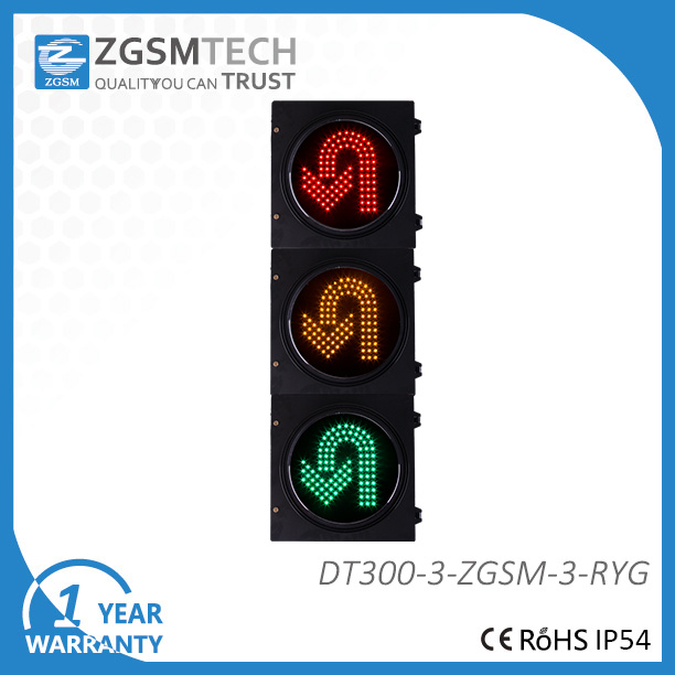 Dia. 300mm 12 Inch 3 Colors Red Yellow Green Turn Round U Turn Traffic signal Light