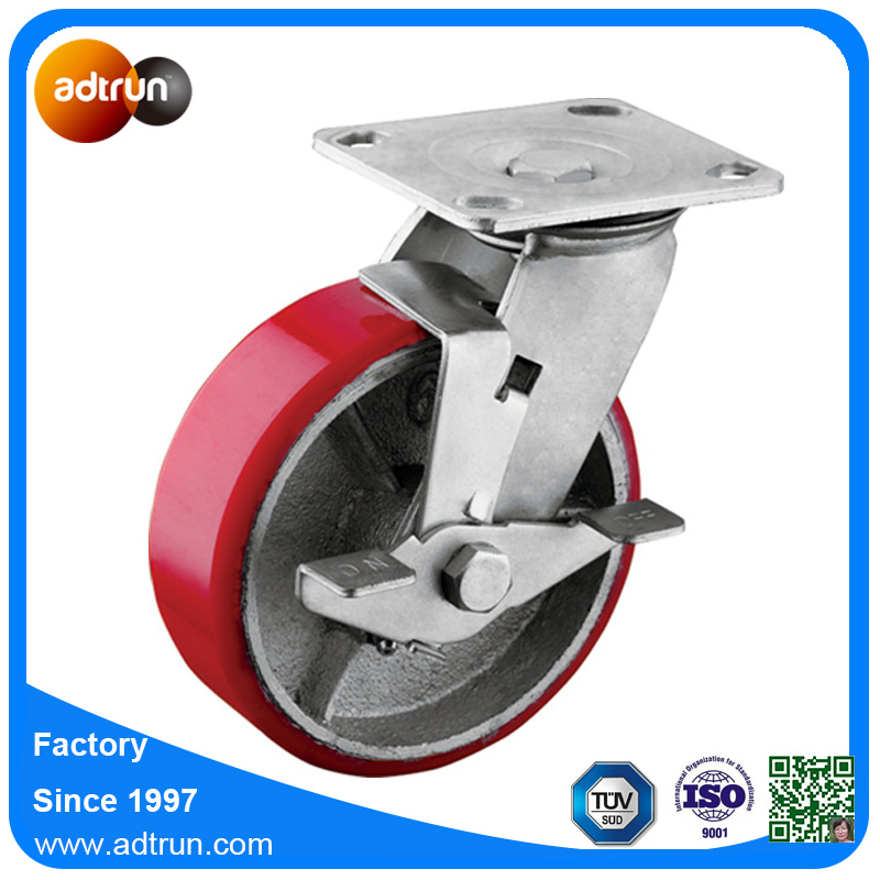 Heavy Duty PU Steel Industrial Casters with Wheel Lock Brake