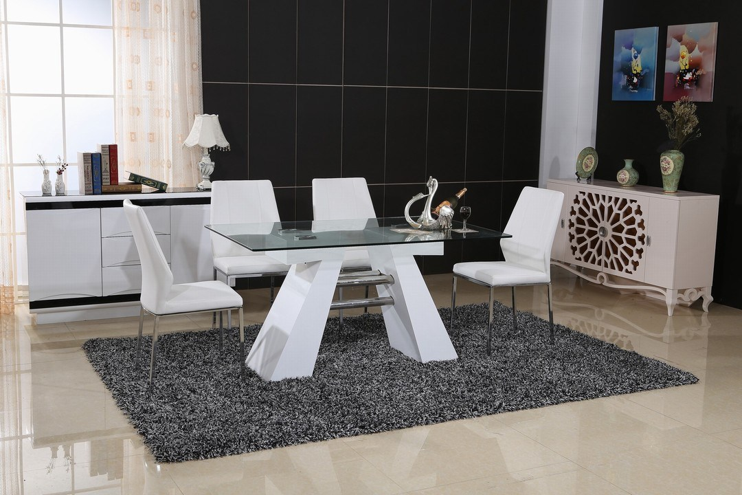 Modern Glass Dining Table and PU Chair