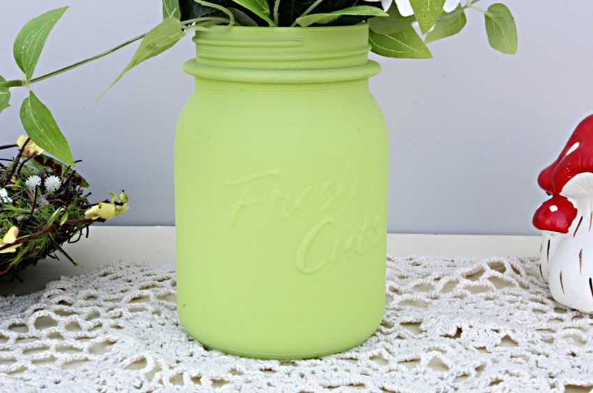 Matte Frost Mason Jar Glass Vase Green