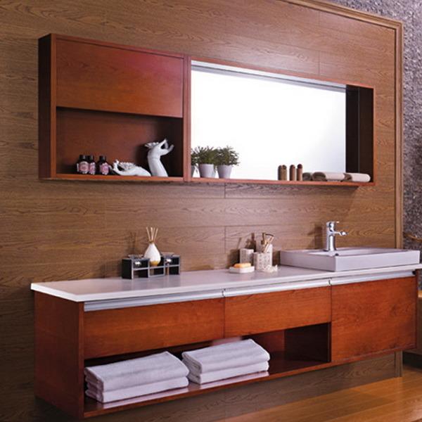 China hot sale wood veneer hanging bath cabinet op13 020 for Hanging bathroom cabinet
