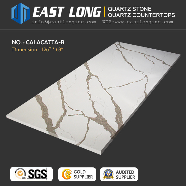 High Grade Calacatta Quartz Stone Slabs for Kitchen Design/Wall Panel/Countertops with Polished Solid Surface