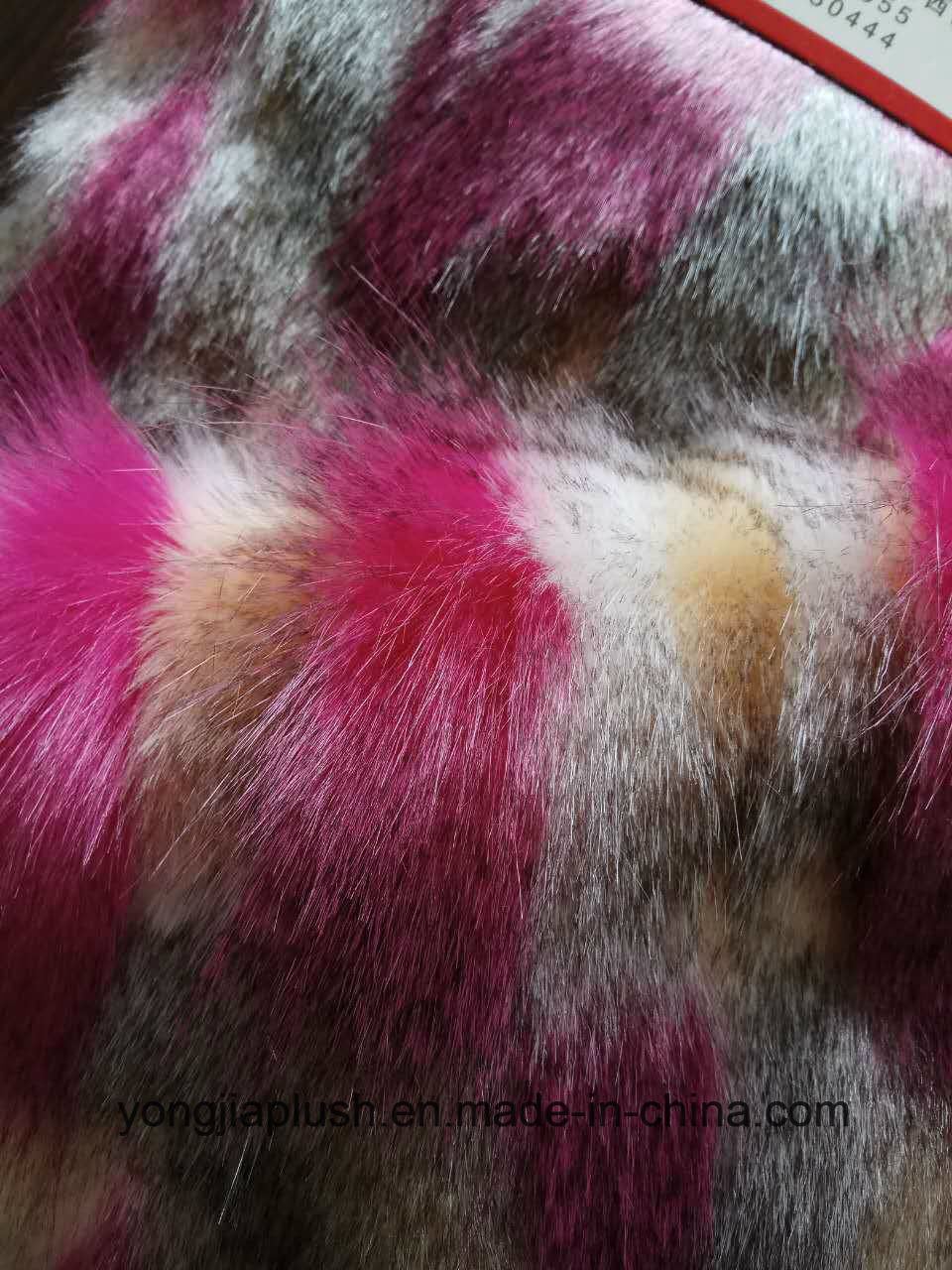 White Plain Rose Red Jacquard Faux Fur