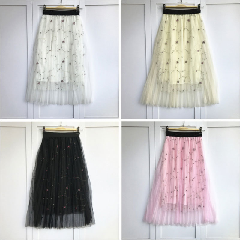 Plaid Floral Front Button Solid Color Elastic Waist Pleated Skirt
