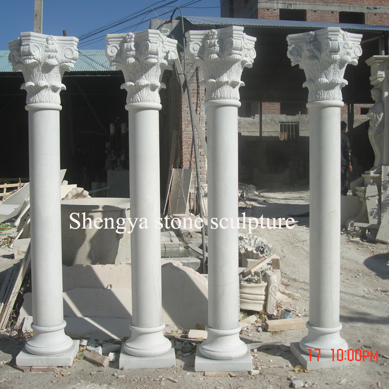 White Marble Stone Sculpture Column for Home Decoration (SY-C016)