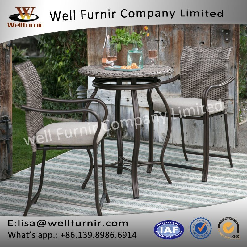 Well Furnir T-039 Sturdy Frame Coast Wicker Bar Bistro Dining Set