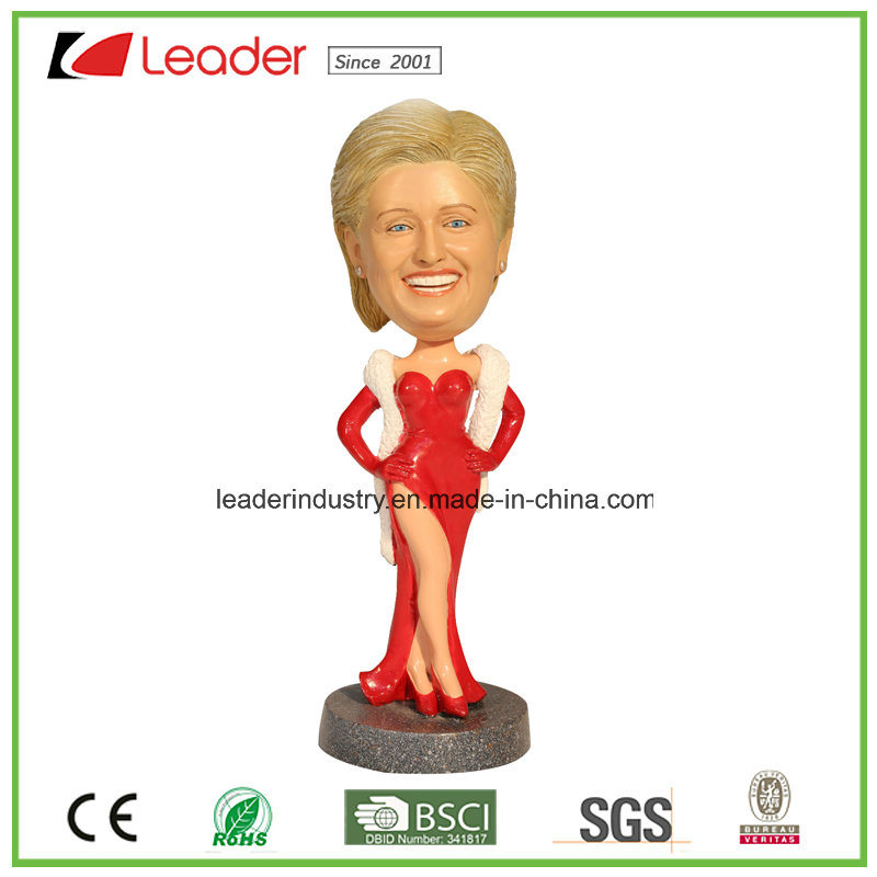 Bobble Polyresin Hillary Lady Bobblehead for Home Decoration
