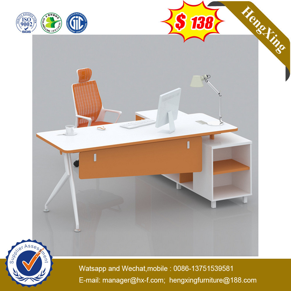 Silver Painting Modesty Panel Veneer Top Executive Office Desk (HX-G0451)