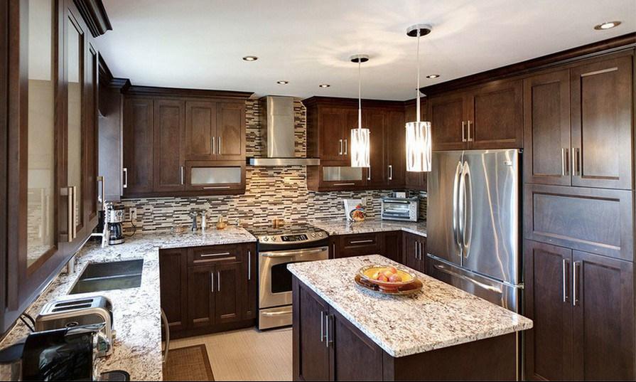 China luxury solid wood cherry wood modern kitchen for Solid wood modern kitchen cabinets