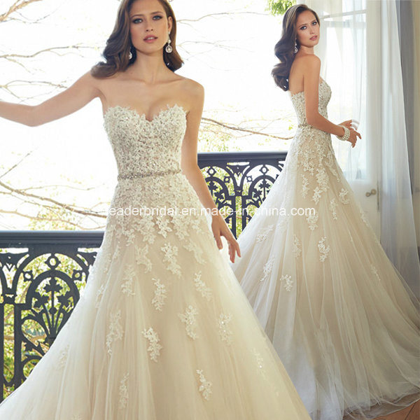 Lace Bridal Gowns Corset A-Line Tulle Beading Wedding Dresses W15172