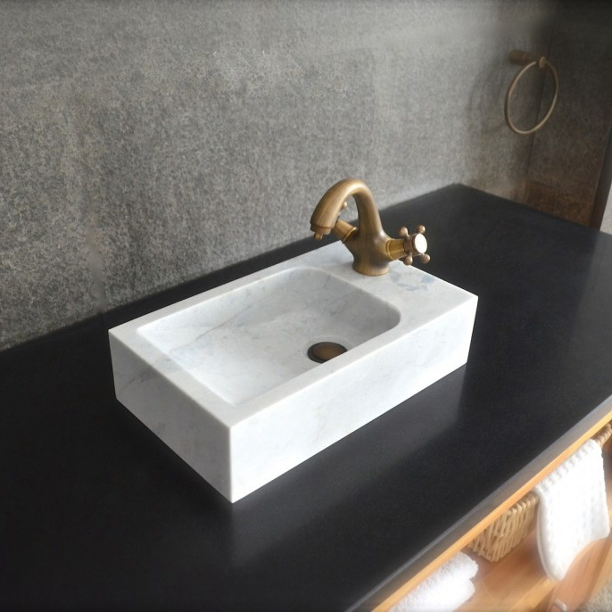 White Marble Hand Wash Stone Basin for Restroom