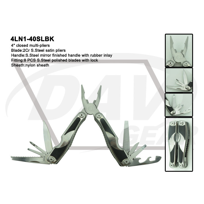 "4"" Closed Alum Handle Multi Knife/Tool with Black Plier (4ln1-40bk)"
