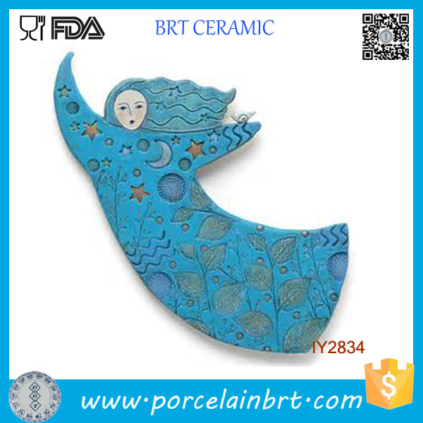 Wholesale Ceramic Blue Girl Art Designer Home Decor