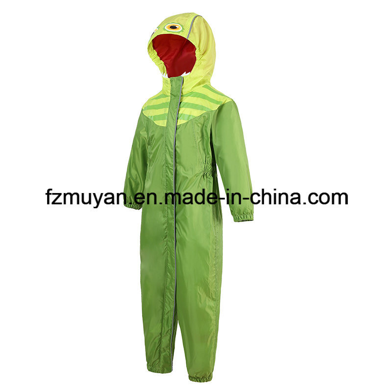 Children Waterproof Hooded One Piece Raincoat