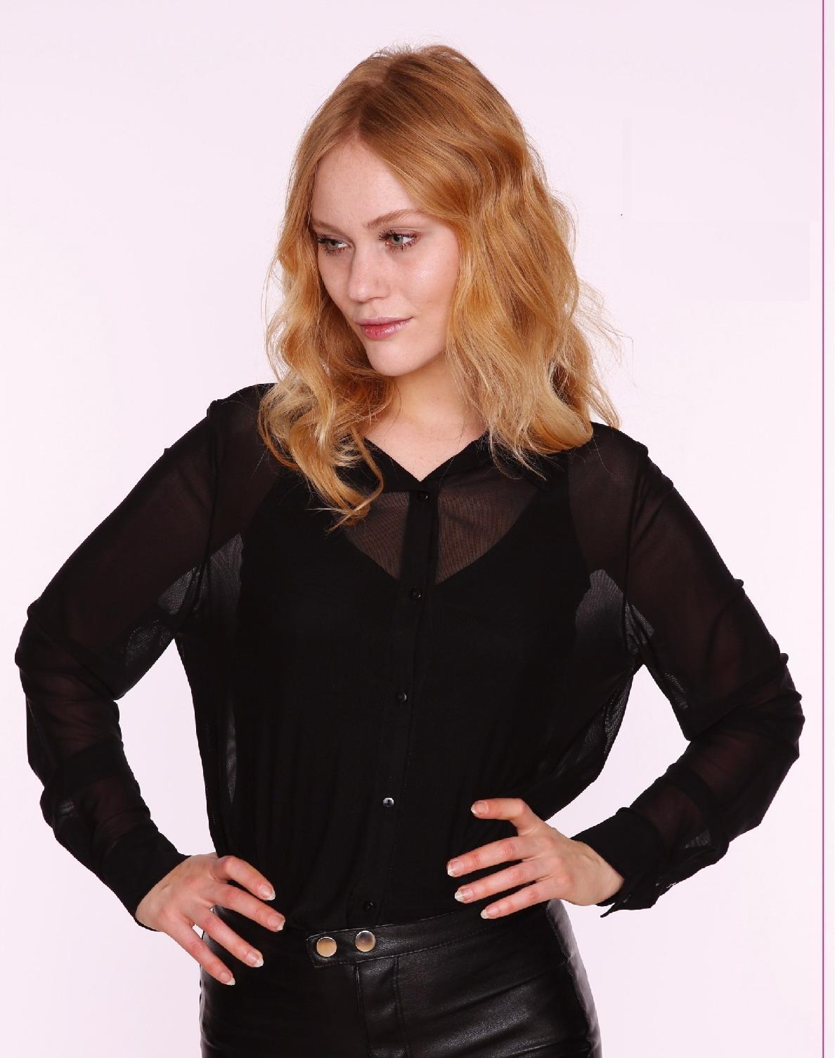2017 Women′s Sexy Shirt Make of Polyester Elastane or Nylon Elastae Mesh Fabric