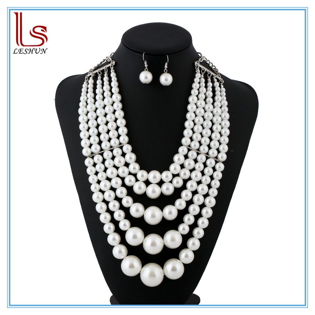 Fashion Women Exaggerated Multilayer Pearl Necklaces