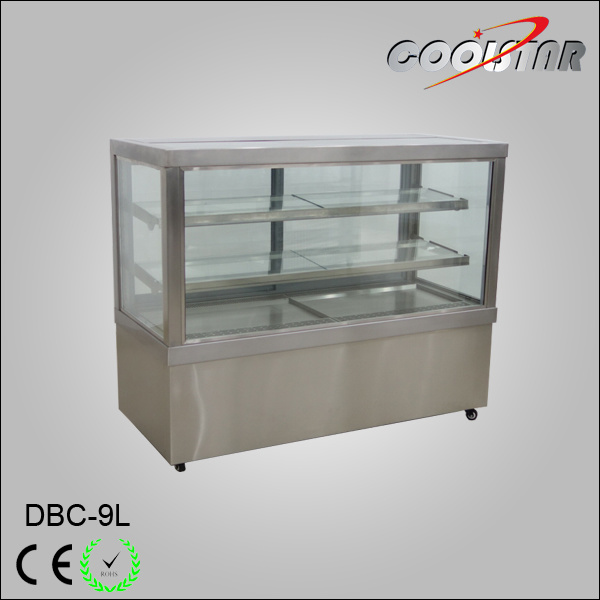 Commercial Glass Door Stainless Steel Cake Refrigerating Showcase