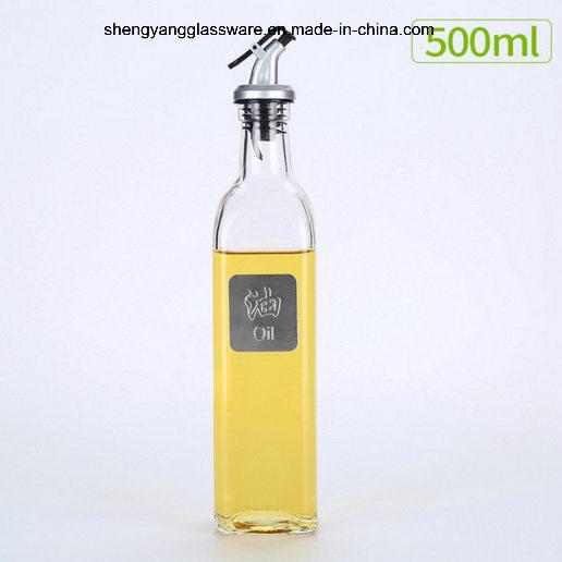 Fashion Liquid Condiment Glass Oil Bottle with Lid Factory Direct Sale
