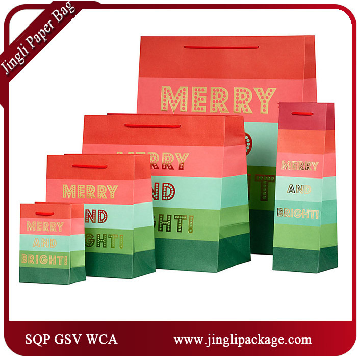 Snow Luxury Paper Gift Bags Packaging Bags Carrier Bags with Silver Stamping